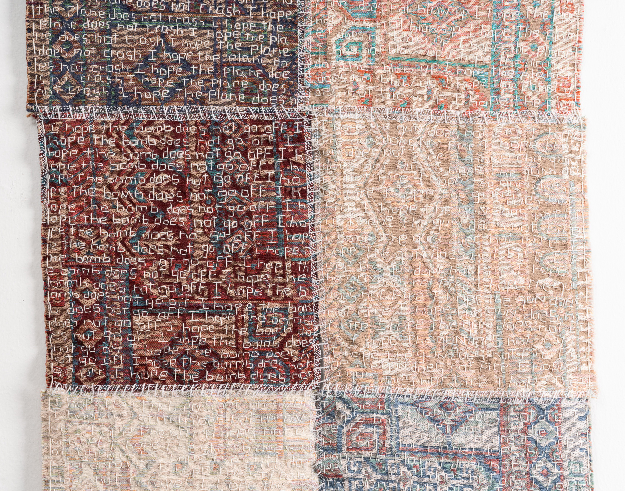 """Debra Disman, """"Hopes and Fears and…"""", (2020). Textile samples and linen thread. 24.5"""" x 16.5"""". Courtesy of the artist."""